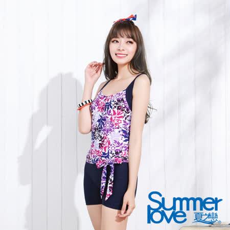 【夏之戀SUMMERLOVE】顯瘦款連身四角泳裝-(E15708)