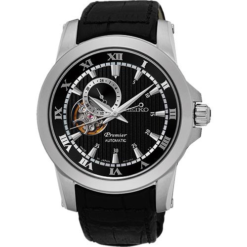 SEIKO Premier 24小時顯示開芯機械錶~黑41mm 4R39~00L0P^(S
