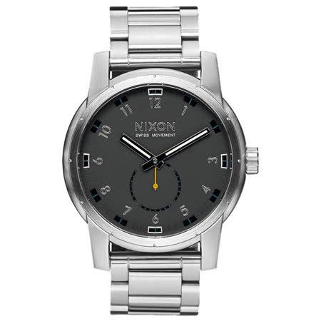 NIXON PATRIOT   獨領風騷復古時尚腕錶-不鏽鋼銀X黑