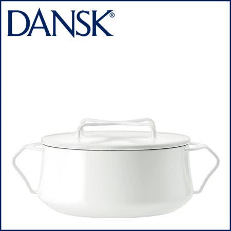 【DANSK】 琺瑯材質雙耳鍋-(白色)-18cm .