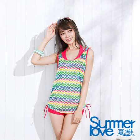 【SUMMERLOVE夏之戀】幾何彩條長版三件式泳衣(E15714)