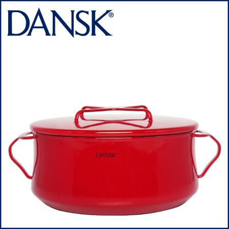 【DANSK】 琺瑯材質雙耳鍋-(紅色)-18cm