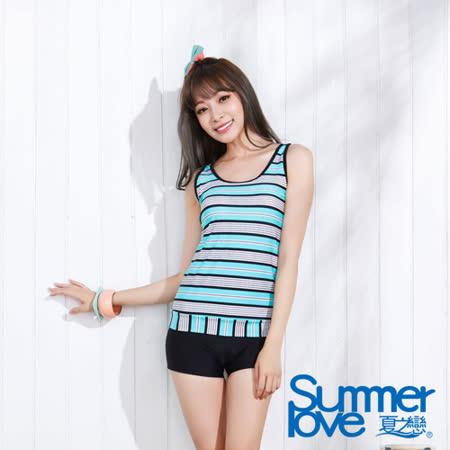 【夏之戀SUMMER LOVE】簡約長版兩件式泳衣-加大碼(E15717)