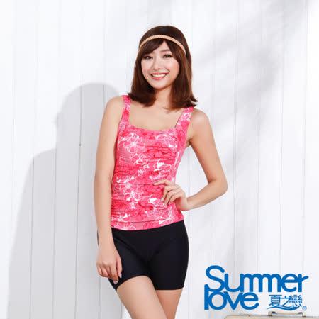 【夏之戀SUMMERLOVE】顯瘦款連身四角泳裝-加大碼(E15719)