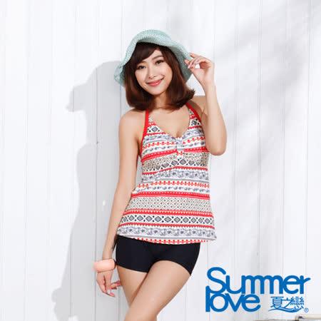 【夏之戀SUMMER LOVE】夏日民俗風長版兩件式泳衣(E15720)