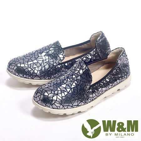 W&M (女) BOUNCE系列 幾何圖形金屬感休閒女鞋-銀