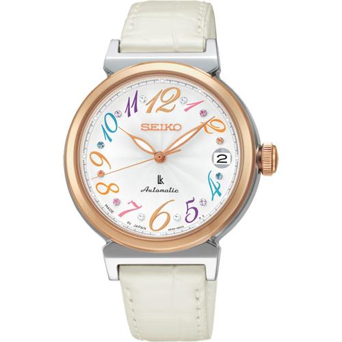 SEIKO LUKIA 款美好旅程晶鑽機械錶~銀x白33mm 4R35~00J0W^(SR