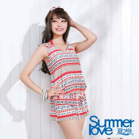 【SUMMERLOVE夏之戀】民俗風連身褲三件式泳衣(E15721)