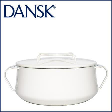 【DANSK】 琺瑯材質雙耳鍋-(白色)-23cm