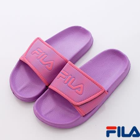 FILA頂級童鞋-休閒運動拖鞋S435P-299紫桃-(19cm~24cm)