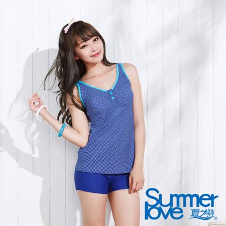 【夏之戀SUMMER LOVE】水玉點點長版兩件式泳衣-加大碼(E15726)