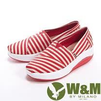 W&M (女)MODARE 超彈力百搭條紋增高鞋女鞋-紅