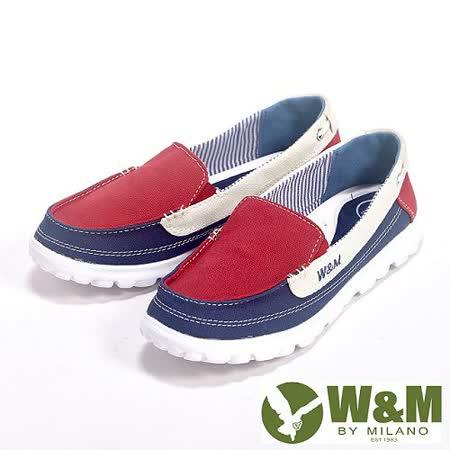 W&M (女)BOUNCE系列 超彈力舒適雙色拼布增高鞋女鞋-紅