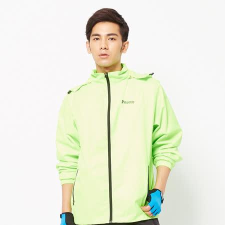 FIVE UP(男)-簡約中厚雙面穿連帽外套-螢綠