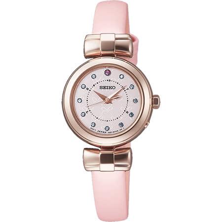SEIKO Vivace聖誕節限量蝴蝶甜心太陽能電波腕錶-粉/24mm 1B21-0AK0P(SWFH046J)