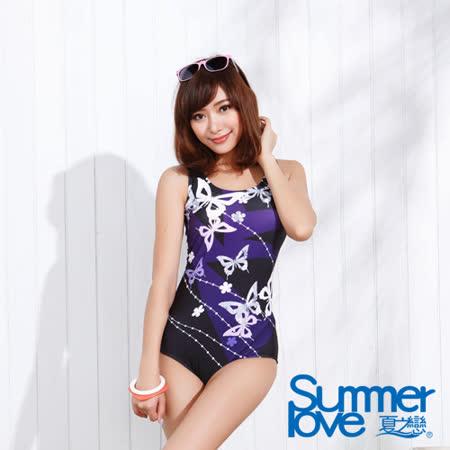 【夏之戀SUMMERLOVE】日系風格連身三角泳衣-加大碼(E15735)
