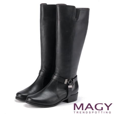 MAGY 街頭騎士風 造型皮帶五金騎士低跟長靴-黑色