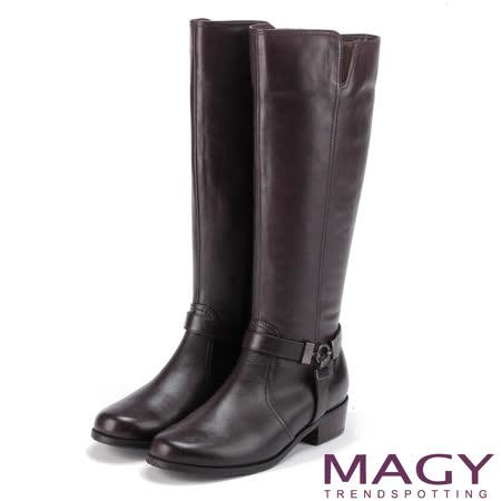 MAGY 街頭騎士風 造型皮帶五金騎士低跟長靴-咖啡