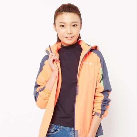 FIVE UP(女)- 雙色防潑連帽中厚風衣外套-橘