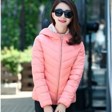 【Stoney.ax】韓版修身顯瘦棉質連帽休閒外套-粉色