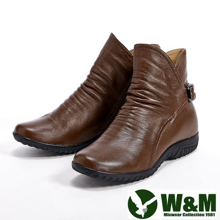 W&M (女)抓皺側V流線型修飾款短靴-咖
