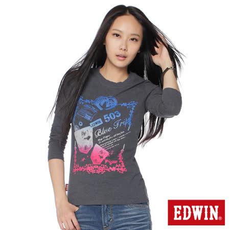EDWIN 漸層印花長袖T恤-女-暗灰色