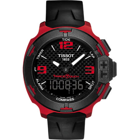 TISSOT T-RACE鋁合金碳纖維觸控錶-紅/42mm T0814209720700