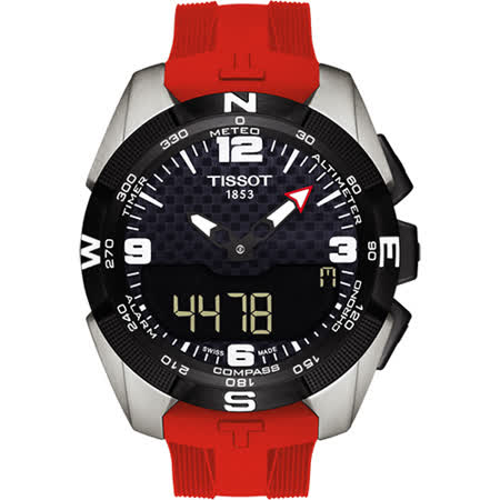 TISSOT T-TOUCH鈦太陽能觸控錶-紅/45mm T0914204705700