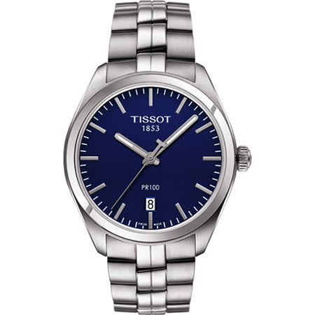 TISSOT PR100 經典美學時尚腕錶-藍/39mm T1014101104100