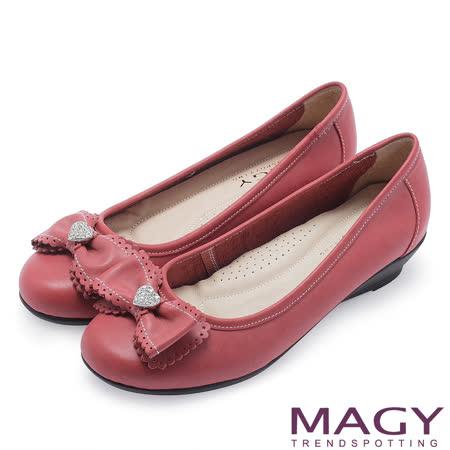 MAGY 輕甜女孩 愛心水鑽點綴花邊蝴蝶結坡跟鞋-紅色