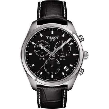 TISSOT PR100 經典美學計時腕錶-黑/41mm T1014171605100