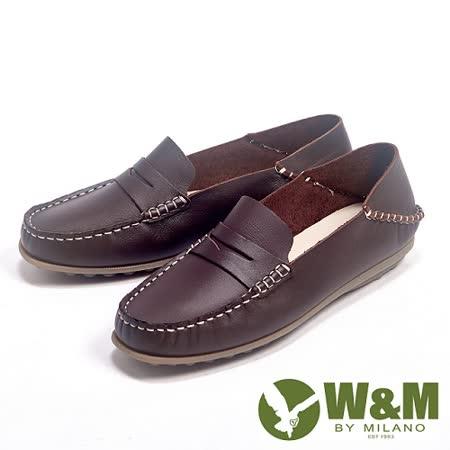 W&M (女)新款經典可踩式雙穿可水洗柔軟防滑鞋底豆豆女鞋-咖