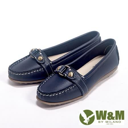 W&M (女)新款經典金屬釦環可水洗豆豆鞋莫卡辛女鞋-藍