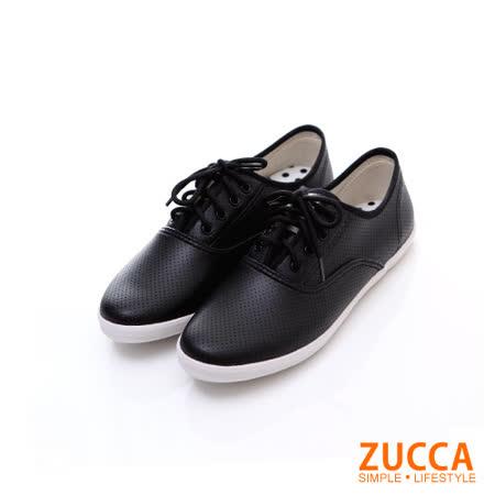 ZUCCA【Z5827BK】雅痞風紋軟皮繫帶休閒鞋-黑色
