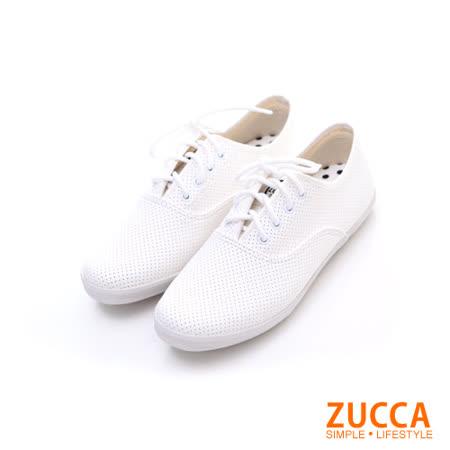 ZUCCA【Z5827WE】雅痞風紋軟皮繫帶休閒鞋-白色