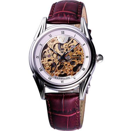 Valentino 范倫鐵諾 靜謐時分自動上鍊鏤空皮帶腕錶-金 LM9001S