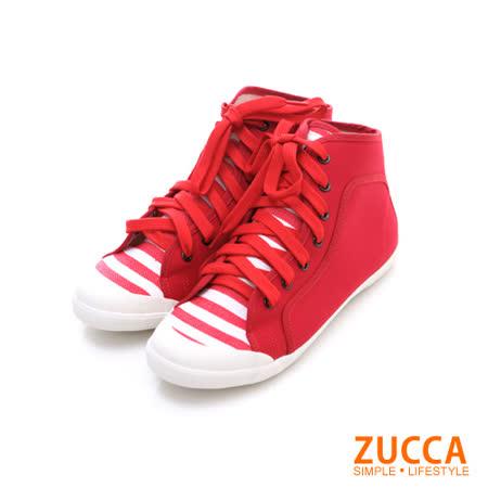Zucca【Z5828RD】率性條紋布繫帶休閒鞋-紅色
