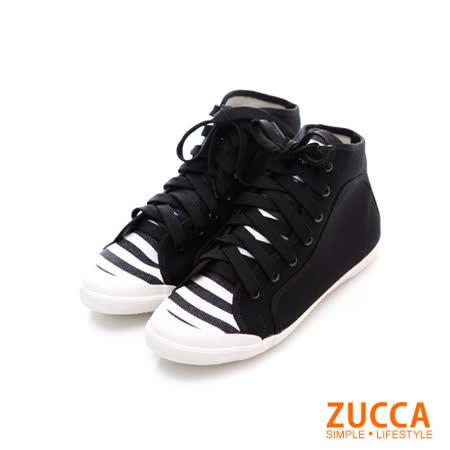 Zucca【Z5828BK】率性條紋布繫帶休閒鞋-黑色