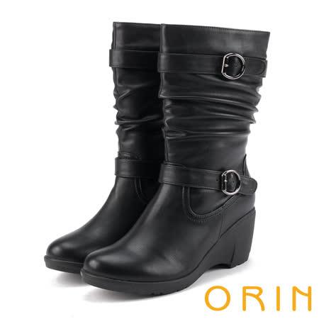 ORIN 流行元素時髦 雙皮帶飾釦皺摺坡跟中筒靴-黑色