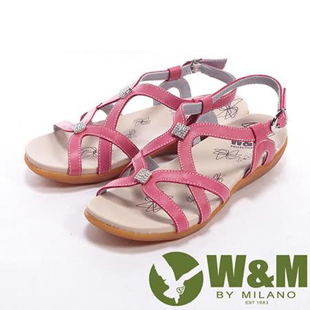 W&M (女)小鑽交錯設計扣環式女鞋中跟涼鞋-桃
