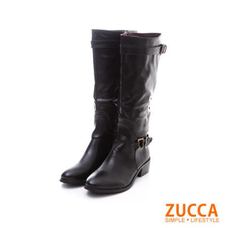 ZUCCA【Z5833BK】經典風格高跟長筒騎士靴-黑色