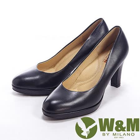 W&M (女)真皮質感專業上班族女鞋高跟鞋-黑