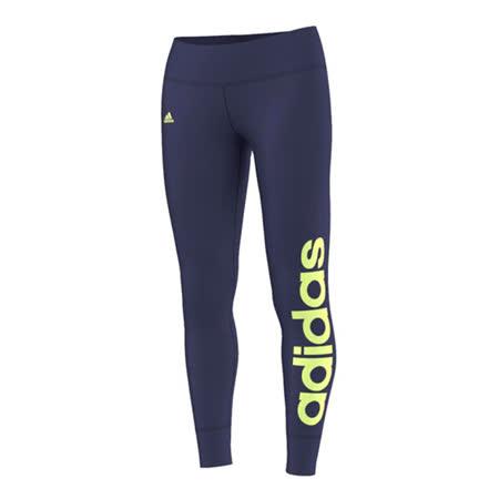 (女)ADIDAS ESS LINEARTIGHT 緊身褲 藍紫/黃-AC3260