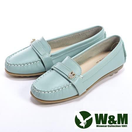 W&M (女)貓頭鷹可水洗柔軟防滑鞋底豆豆鞋莫卡辛鞋女鞋-淺藍