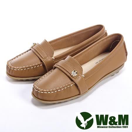 W&M (女)貓頭鷹可水洗柔軟防滑鞋底豆豆鞋莫卡辛鞋女鞋-棕