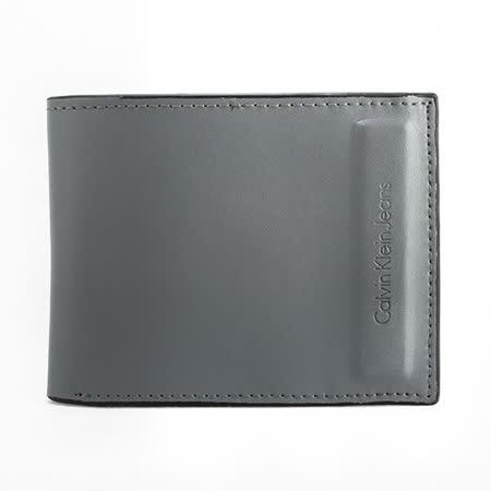 Calvin Klein 霧面質感皮革短夾禮盒-灰色