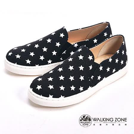 WALKING ZONE (女)小星星直套內增高鞋-黑