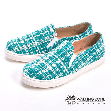 WALKING ZONE (女)線條混搭色直套內增高鞋-藍