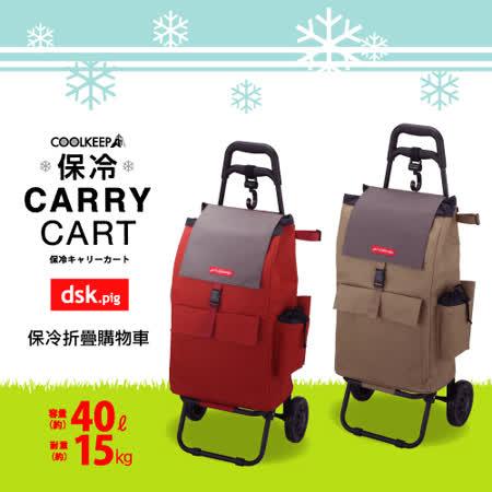 福利品-日本DSK.PIG保冷折疊購物車(2色可選)