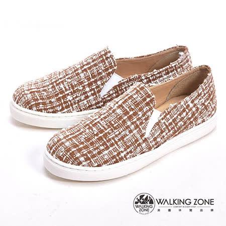 WALKING ZONE (女)線條混搭色直套內增高鞋-咖